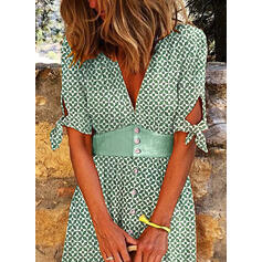 Print Short Sleeves A-line Skater Casual/Vacation Midi Dresses