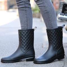 Women's PVC Low Heel Mid-Calf Boots Rain Boots With Others shoes