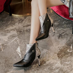 Women's Leatherette Stiletto Heel Ankle Boots With Rivet Animal Print Zipper shoes