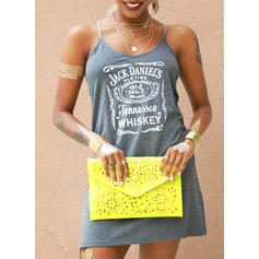 Print Sleeveless Sheath Above Knee Casual Tank Dresses