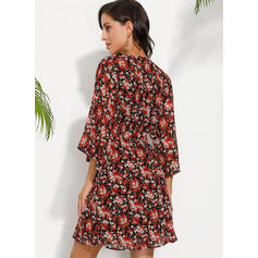 Print/Floral 3/4 Sleeves A-line Above Knee Casual/Vacation Skater Dresses