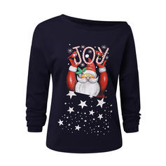 Print One-Shoulder Long Sleeves Casual Christmas Knit Blouses