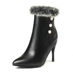 Femmes PU Talon stiletto Escarpins Bottes avec Perle d'imitation chaussures
