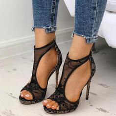 Femmes Dentelle Talon stiletto Sandales À bout ouvert avec Couture dentelle chaussures