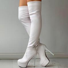 Női PU Chunky sarok A térdcsizma felett Sarok Kerek lábujj -Val Szolid szín cipő