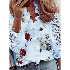 Impresión Floral Encaje Cuello en V Mangas 3/4 Casual Blusas