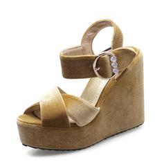 Women's Suede Wedge Heel Sandals Wedges Peep Toe Slingbacks With Rhinestone Buckle shoes