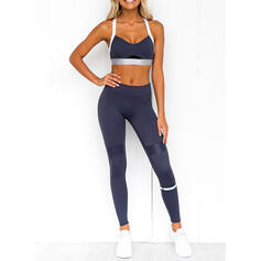 Strap Sleeveless Solid Color Sports Leggings Sports Bras Yoga Sets