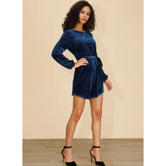 Solid Long Sleeves A-line Above Knee Casual/Elegant Dresses