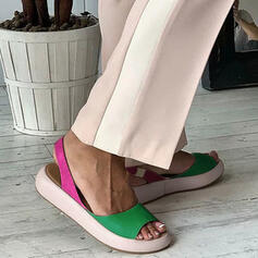 Femmes PU Talon plat Sandales À bout ouvert avec Couleur d'épissure chaussures