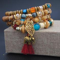 Beautiful Fashionable Exotic Alloy Wooden Beads Bracelets