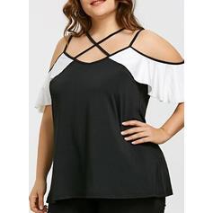 Color Block Cold Shoulder 1/2 Sleeves Plus Size T-shirts