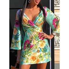 Print/Floral 3/4 Sleeves/Flare Sleeves Bodycon Above Knee Casual/Elegant Dresses