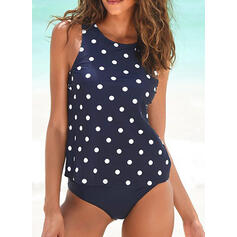 Dot Strap Round Neck Casual Tankinis Swimsuits