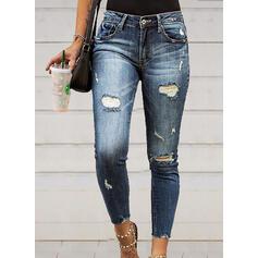 Shirred Ripped Long Elegant Sexy Denim & Jeans