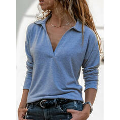 Solid Lapel Long Sleeves Casual Knit Shirt Blouses