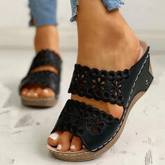 Women's PU Wedge Heel Sandals Peep Toe Slippers With Hollow-out shoes