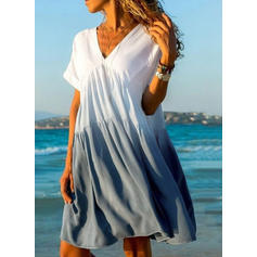 Color-block Short Sleeves A-line Knee Length Casual/Vacation Dresses