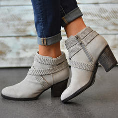 Women's PU Chunky Heel Boots With Zipper shoes