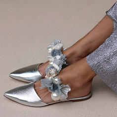 Women's PU Flat Heel Flats With Pearl shoes