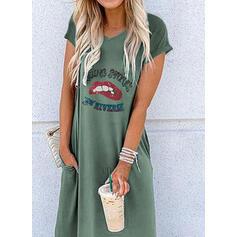 Print Short Sleeves Shift T-shirt Casual Maxi Dresses