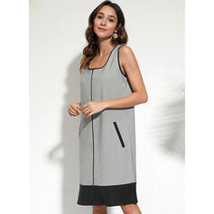 Color Block Sleeveless Shift Knee Length Casual Dresses