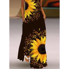 Nadruk słonecznika Bez Rękawów Suknie shift Nieformalny Maxi Sukienki