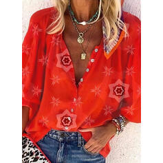 Print V-Neck 3/4 Sleeves Button Up Shirt Blouses