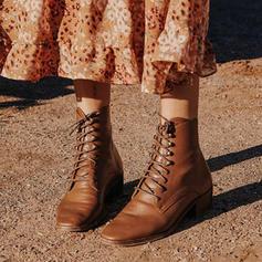 Femmes PU Talon bottier Bottines Martin bottes avec Dentelle chaussures