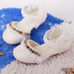 Flicka Microfiber läder platt Heel Stängt Toe Platta Skor / Fritidsskor Flower Girl Shoes med Beading Stitching Lace Kardborre