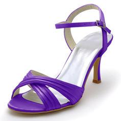 Frauen Satiniert Stöckel Absatz Sandalen mit Schnalle