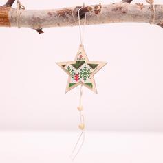vrolijk kerstfeest opknoping Ster Houten Kerst hanger Kerstdecoratie