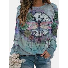 Blumen Tierdruck Figur Rundhals Lange Ärmel Pullover