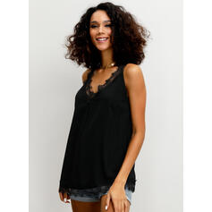 Solid V Neck Sleeveless Casual Sexy Tank Tops