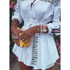 Print/Striped Long Sleeves Sheath Above Knee Casual Dresses