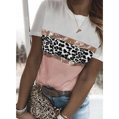 Bloc de culori leopard Kulatý Výstřih Krátké rukávy Tricouri