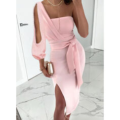 Solid Long Sleeves Sheath Party Midi Dresses
