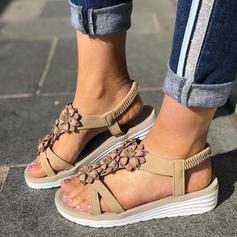 De mujer PU Tacón plano Sandalias Planos con Flor zapatos