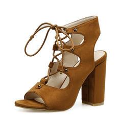 Femmes Suède Talon bottier Escarpins Bottes À bout ouvert Escarpins Bottines avec Dentelle chaussures