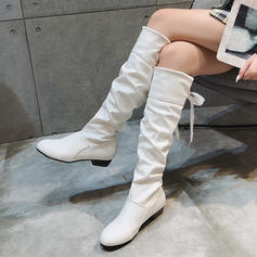 Women's PU Low Heel Knee High Boots With Split Joint shoes