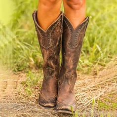 Vrouwen PU Chunky Heel Pumps Closed Toe Laarzen Knie Lengte Laarzen met Klinknagel schoenen