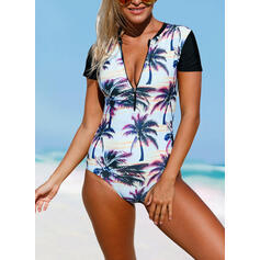 Floral Print High Neck Sports Vintage One-piece Swimsuits