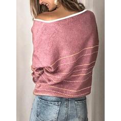 Csíkos V-nyak Hétköznapokra πουλόβερ