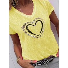 Καρδιά Minta Πούλιες V-nyak Rövidujjú Μπλουζάκια