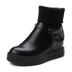 Femmes PU Talon plat Compensée Bottines avec Boucle Autres chaussures