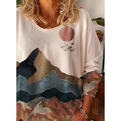 Impresión Bosque Cuello redondo Manga Larga Casual Camisetas