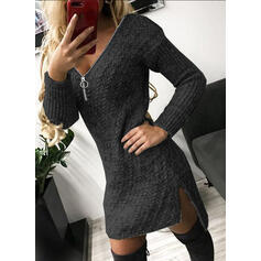 Solid Cable-knit V-Neck Casual Long Sweater Dress