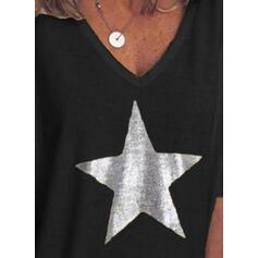 Nadruk Dekolt w kształcie litery V Rękaw 1/2 Casual Dzianina T-shirty