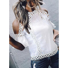 Solid Patchwork Lace Cold Shoulder 1/2 Sleeves Casual Knit Blouses