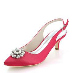 Frauen Seide wie Satin Stöckel Absatz Absatzschuhe mit Perle